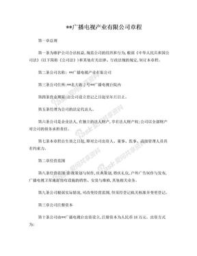 广播电视产业有限公司章程(非股份).doc