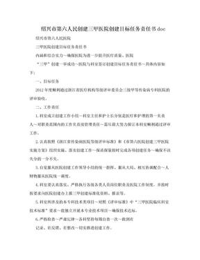 绍兴市第六人民创建三甲医院创建目标任务责任书doc.doc