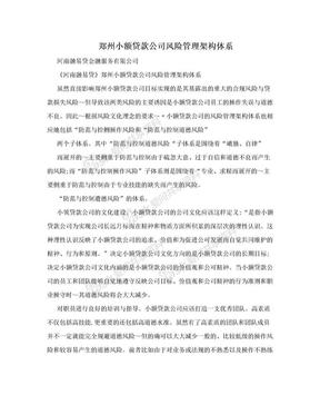 郑州小额贷款公司风险管理架构体系.doc