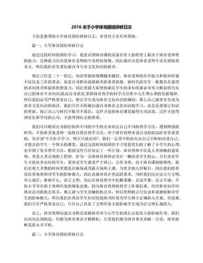 2016关于小学体育国培研修日志.docx