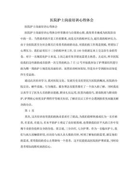 医院护士岗前培训心得体会.doc