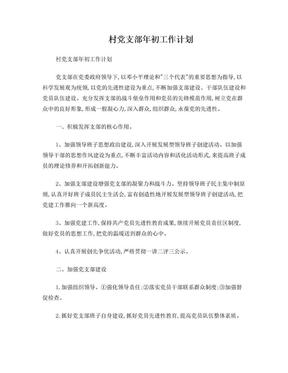 村党支部年初工作计划.doc