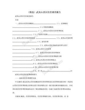 (精选)武夷山景区经营调查报告.doc