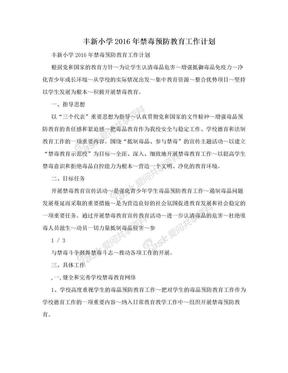 丰新小学2016年禁毒预防教育工作计划.doc