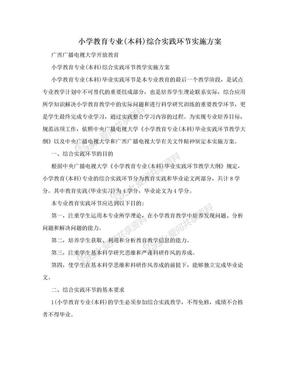 小学教育专业(本科)综合实践环节实施方案.doc
