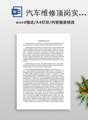 汽车维修顶岗实习总结.docx
