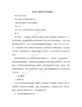 文化产业园可行性报告.doc