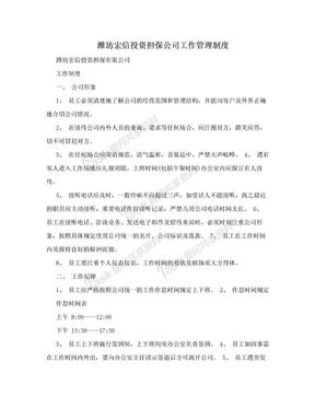 潍坊宏信投资担保公司工作管理制度.doc