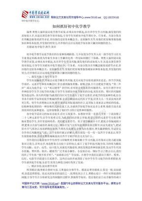 初中化学教学论文:如何抓好初中化学教学.doc