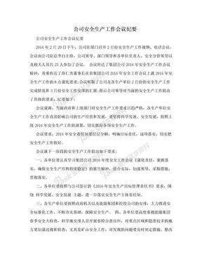 公司安全生产工作会议纪要.doc
