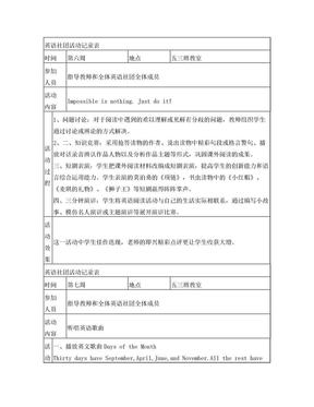 英语社团活动记录表.doc