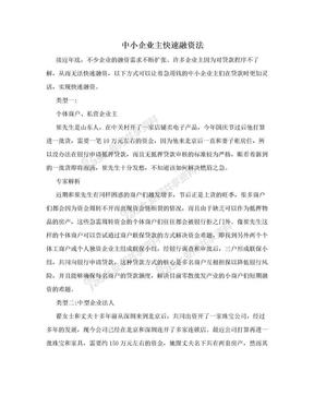 中小企业主快速融资法.doc