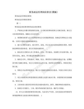 财务副总经理岗位职责(模板).doc