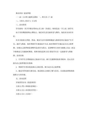 《舞动青春,绽放梦想》主题班会.doc
