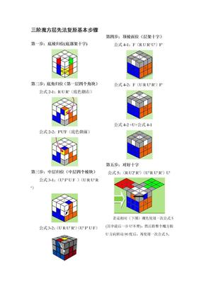 三阶魔方层先法复原基本步骤(打印版).doc