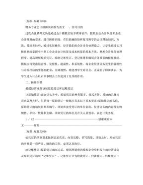 财务专业会计模拟实训报告范文.doc