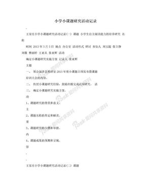 小学小课题研究活动记录.doc