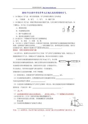 2010中考化学分类汇编-我们周围的空气.doc