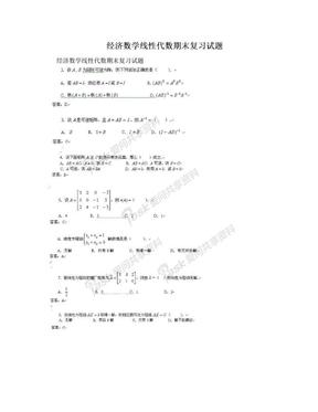 经济数学线性代数期末复习试题.doc