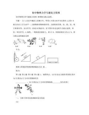 初中物理力学专题复习资料.doc