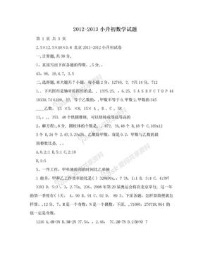 2012-2013小升初数学试题.doc