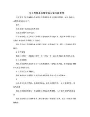 水土保持小流域实施方案实施提纲.doc