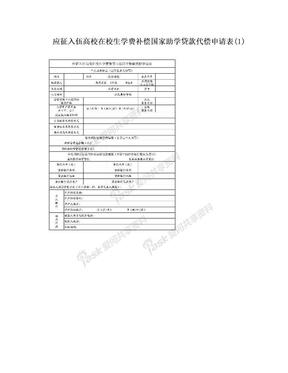 应征入伍高校在校生学费补偿国家助学贷款代偿申请表(1).doc
