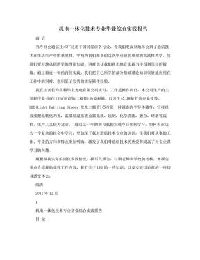 机电一体化技术专业毕业综合实践报告.doc