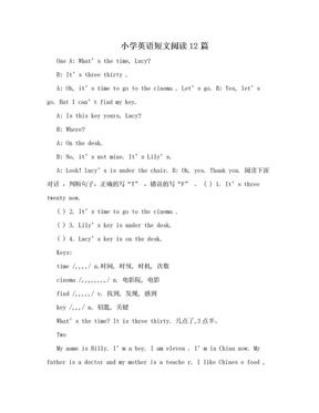 小学英语短文阅读12篇.doc