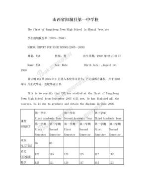中英文学生成绩报告单.doc