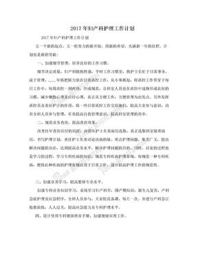 2017年妇产科护理工作计划.doc