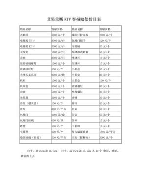 KTV包厢物品赔偿价目表.doc