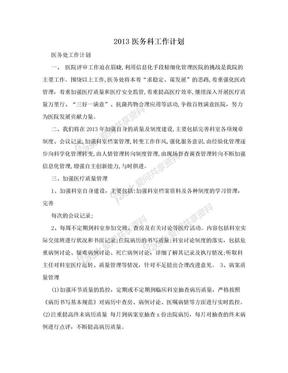 2013医务科工作计划.doc