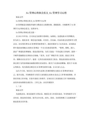 6s管理心得体会范文_6s管理学习心得.doc