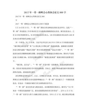 2017年一带一路峰会心得体会征文800字.doc