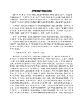 小学数学骨干教师培训总结.docx