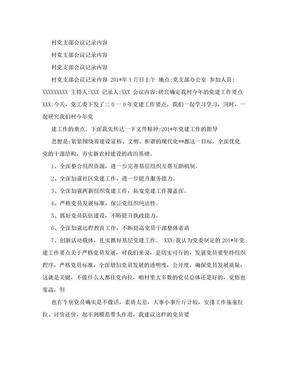 村党支部会议记录内容(范本).doc