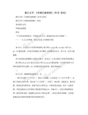 报告文学-《哥德巴赫猜想》(作者-徐迟).doc