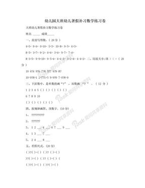 幼儿园大班幼儿暑假补习数学练习卷.doc