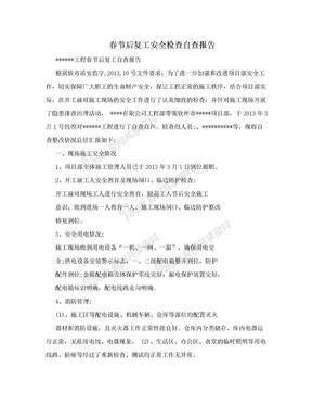 春节后复工安全检查自查报告.doc