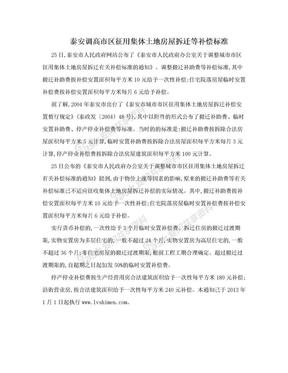 泰安调高市区征用集体土地房屋拆迁等补偿标准.doc