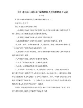 684-肃北县工商局部门廉政风险点和防控措施登记表(一).doc
