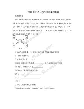 2013年中考化学分类汇编推断题.doc