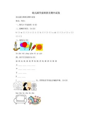 幼儿园学前班拼音期中试卷.doc