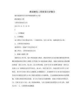 路面硬化工程质量自评报告.doc