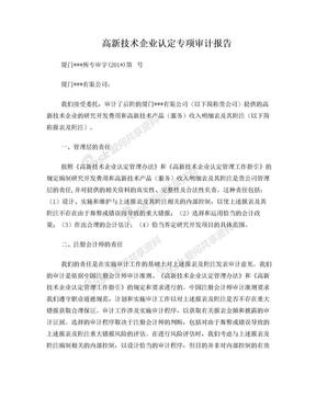 高新技术企业认定专项审计报告.doc