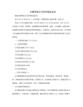小额贷款公司经营情况总结.doc