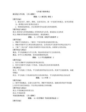 人教版数学七年级下册重难点.doc