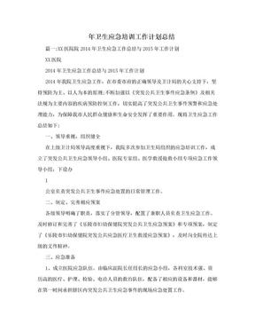 年卫生应急培训工作计划总结.doc