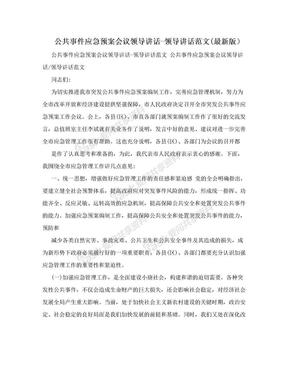 公共事件应急预案会议领导讲话-领导讲话范文(最新版).doc
